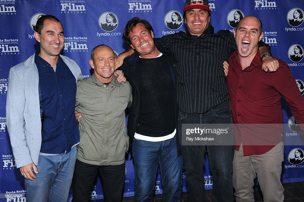 Directors Chris Neilus, Tom Carroll, surfers Justin McMillan, Ross Clarke Jones and surf forecaster Ben Matson attend the screening of 'Storm Surfers 3D' at the 28th Santa Barbara International Film Festival on January 27, 2013 in Santa Barbara, California.