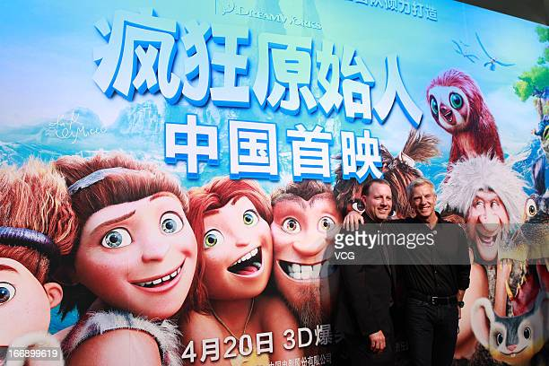 Directors Chris Sanders and Kirk De Micco attend 'The Croods' Beijing premiere on April 18 2013 in Beijing China