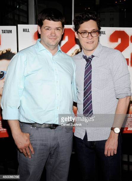 Directors Christopher Miller and Phil Lord attend the 22 Jump Street premiere at AMC Lincoln Square Theater on June 4 2014 in New York City