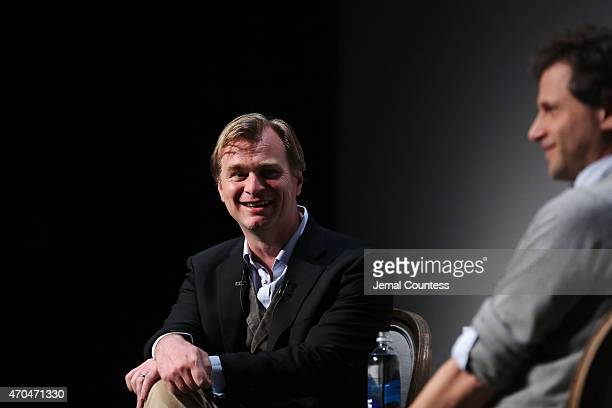 Directors Christopher Nolan and Bennett Miller speak onstage at Tribeca Talks Director Series Christopher Nolan With Bennett Miller during the 2015...