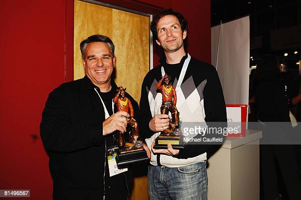 Directors Craig Saavedra and Matt Merkovich pose with their awards at the Awards Ceremony during the 5th annual Jackson Hole Film Festival on June 8...