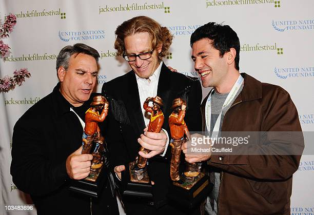 Directors Craig Saavedra Eric Shively and James Lester pose with their awards at the Awards Ceremony during the 5th annual Jackson Hole Film Festival...