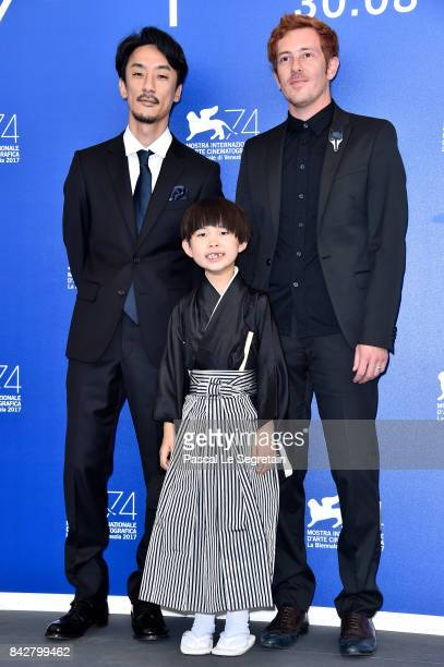 Directors Damien Manivel actor Takara Kogawa and Kohei Igarashi attend the 'The Night I Swam ' photocall during the 74th Venice Film Festival at Sala...