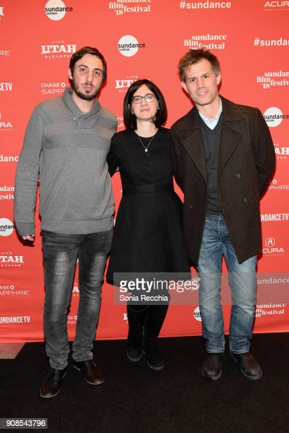 Directors Daniel Siven and Mor Loushy and Sundance Film Festival senior programmer John Nein attend the 'The Oslo Diaries' Premiere during the 2018...