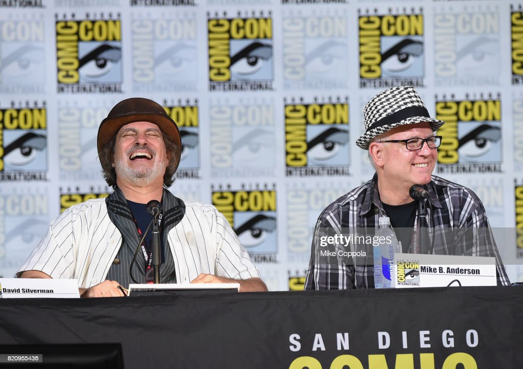 Directors David Silverman (L) and Mike B. Anderson attend 'The Simpsons' panel during Comic-Con International 2017 at San Diego Convention Center on July 22, 2017 in San Diego, California.