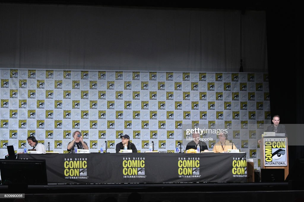 Directors David Silverman and Mike B. Anderson, writer Matt Selman, producer Al Jean and writer/producer Matt Groening, and moderator Michael Schneider attend 'The Simpsons' panel during Comic-Con International 2017 at San Diego Convention Center on July 22, 2017 in San Diego, California.