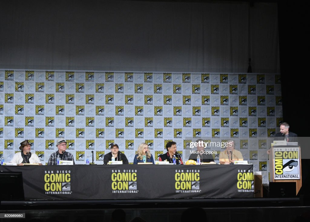 Directors David Silverman and Mike B. Anderson, writer Matt Selman, actors Nancy Cartwright and Joe Mantegna, producer Al Jean and writer/producer Matt Groening, and moderator Michael Schneider attend 'The Simpsons' panel during Comic-Con International 2017 at San Diego Convention Center on July 22, 2017 in San Diego, California.