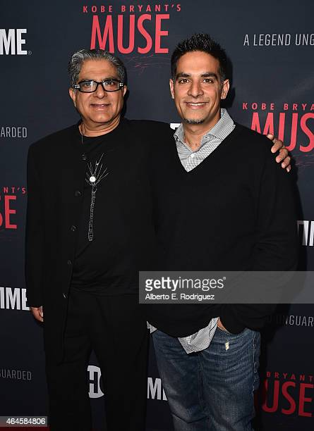 Directors Deepak Chopra and Gotham Chopra attend the premiere of Showtime's 'Kobe Bryant's Muse' at The London Hotel on February 26 2015 in West...