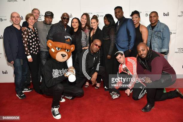 """Directors Dyana Winkler and Tina Brown pose with the cast, crew and guests at a screening of """"United Skates"""" during the 2018 Tribeca Film Festival at..."""