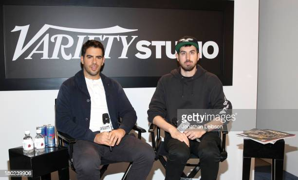 Directors Eli Roth and Ti West attend the Variety Studio presented by Moroccanoil at Holt Renfrew during the 2013 Toronto International Film...