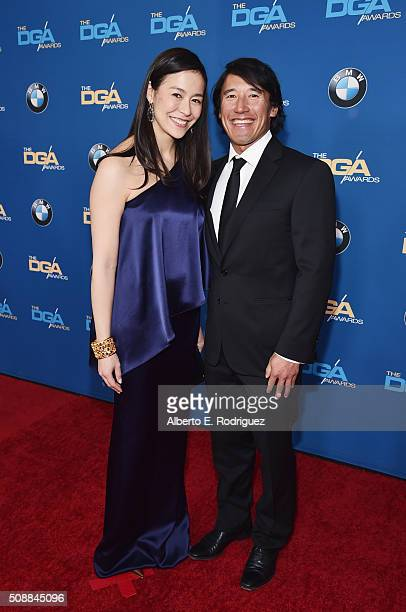 Directors Elizabeth Chai Vasarhelyi and Jimmy Chin attends the 68th Annual Directors Guild Of America Awards at the Hyatt Regency Century Plaza on...