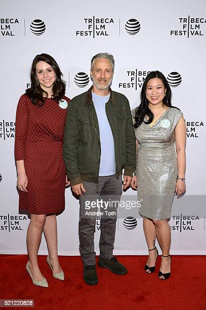 """Directors Ellen Martinez, Steph Ching and Jon Stewart attend """"After Spring"""" Premiere - 2016 Tribeca Film Festival at Chelsea Bow Tie Cinemas on April..."""