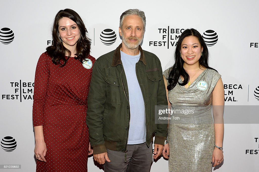 Directors Ellen Martinez, Steph Ching and Jon Stewart (C) attend 'After Spring' Premiere - 2016 Tribeca Film Festival at Chelsea Bow Tie Cinemas on April 14, 2016 in New York City.