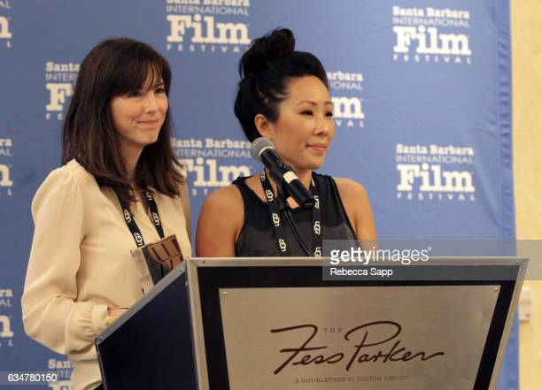 Directors Emily Moore and Joyce Chen of 'Refugee' speak onstage at the Awards Breakfast during the 32nd Santa Barbara International Film Festival at...
