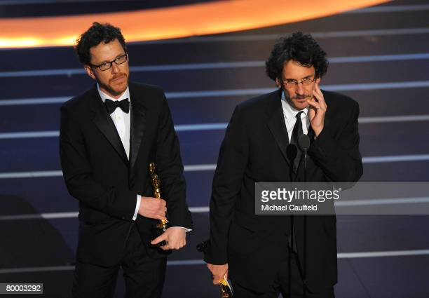 Directors Ethan Coen and Joel Coen onstage during the 80th Annual Academy Awards at the Kodak Theatre on February 24 2008 in Los Angeles California