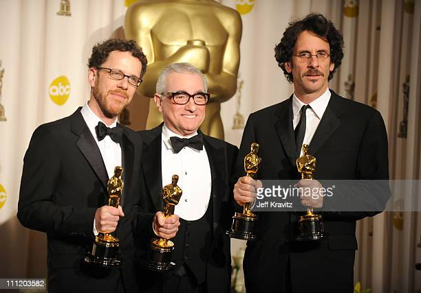 Directors Ethan Coen Martin Scorsese and Joel Coen poses in the press room during the 80th Annual Academy Awards at the Kodak Theatre on February 24...