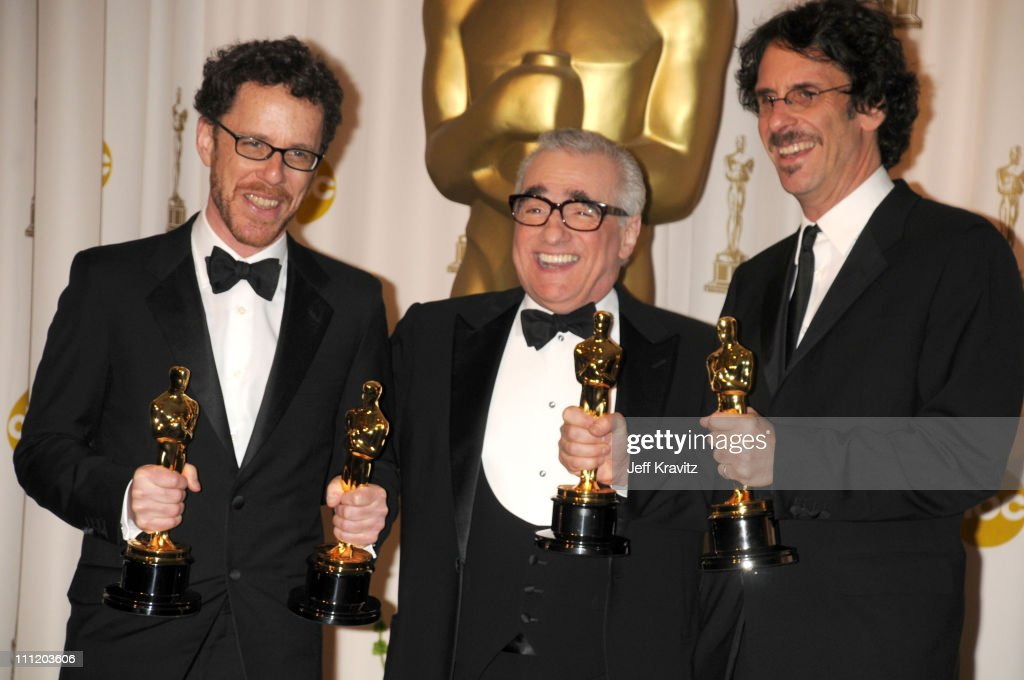 Directors Ethan Coen, Martin Scorsese, and Joel Coen poses in the press room during the 80th Annual Academy Awards at the Kodak Theatre on February 24, 2008 in Los Angeles, California.
