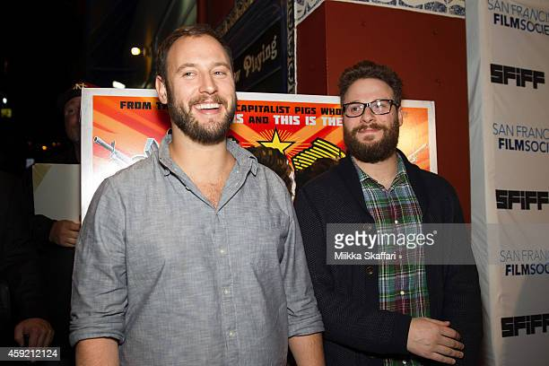 Directors Evan Goldberg and Seth Rogen arrive at the Castro Theater for an evening with Seth Rogen and Evan Goldberg on November 18 2014 in San...