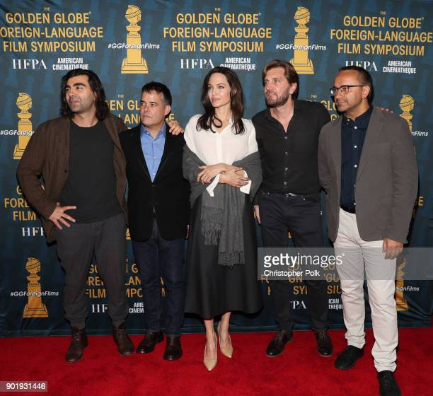 Directors Fatih Akin Sebastian Lelio Angelina Jolie Ruben Ostlund and Andrey Zvyaginstev attend the HFPA and American Cinematheque Present The Golden...