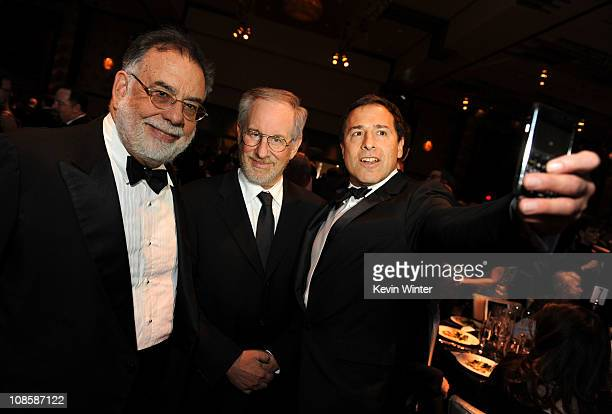 Directors Francis Ford Coppola Steven Spielberg and David O Russell in the audience at the 63rd Annual Directors Guild Of America Awards held at the...