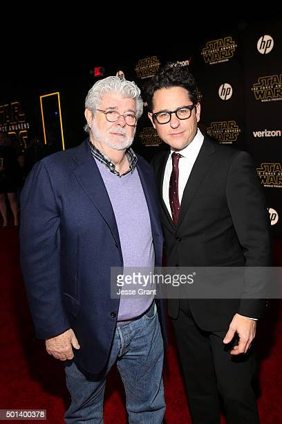 "Directors George Lucas and JJ Abrams attend the World Premiere of ""Star Wars The Force Awakens"" at the Dolby El Capitan and TCL Theatres on December..."