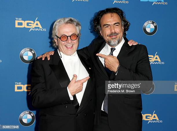 Directors George Miller and Alejandro Gonzalez Inarritu attend the 68th Annual Directors Guild Of America Awards at the Hyatt Regency Century Plaza...