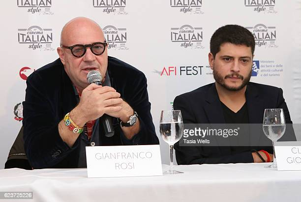 Directors Gianfranco Rosi and Claudio Giovannesi attend the Cinema Italian Style press conference at Mr C Beverly Hills on November 16 2016 in...