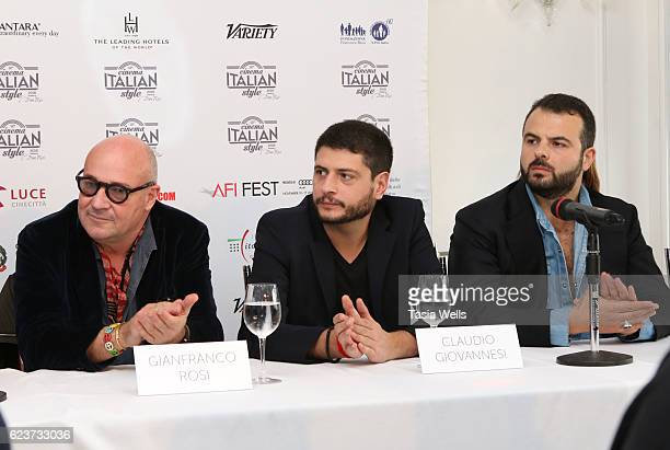 Directors Gianfranco Rosi Claudio Giovannesi and Edoardo De Angelis attend the Cinema Italian Style press conference at Mr C Beverly Hills on...