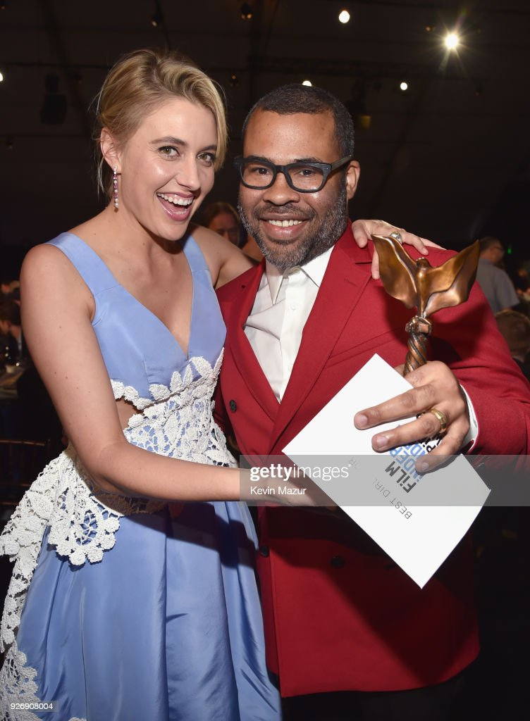 Directors Greta Gerwig (L) and Jordan Peele, winner of the Best Director award for 'Get Out', pose during the 2018 Film Independent Spirit Awards on March 3, 2018 in Santa Monica, California.