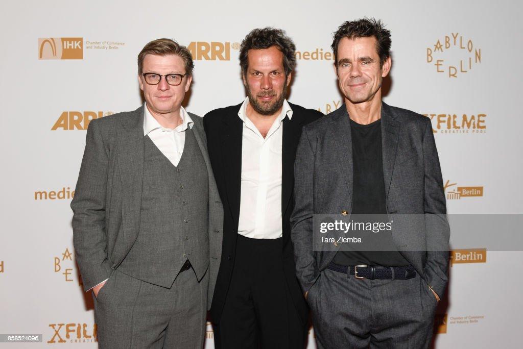 Directors Hank Handloegten, Achim von Borries and Tom Tykwer attend the premiere of Beta Film's 'Babylon Berlin' at The Theatre at Ace Hotel on October 6, 2017 in Los Angeles, California.