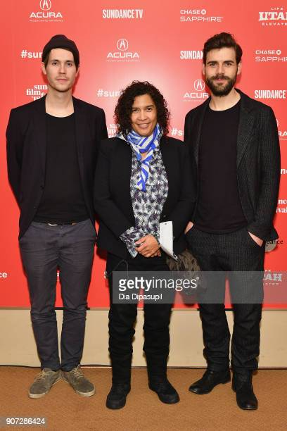 Directors Hans Block and Moritz Riesewieck pose with Senior Programmer for Sundance Film Festival Shari Frilot at 'The Cleaners' Premiere during the...
