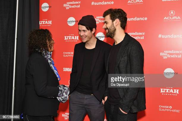 Directors Hans Block and Moritz Riesewieck speak with Senior Programmer for Sundance Film Festival Shari Frilot at 'The Cleaners' Premiere during the...