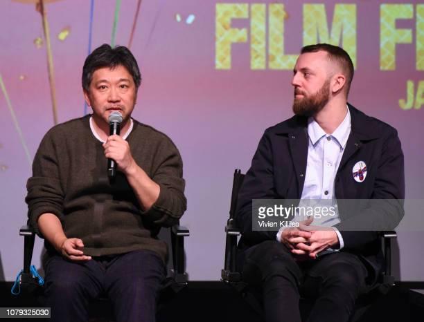 Directors Hirokazu Koreeda and Gustav Moller attend the 30th Annual Palm Springs International Film Festival on January 7 2019 in Palm Springs...