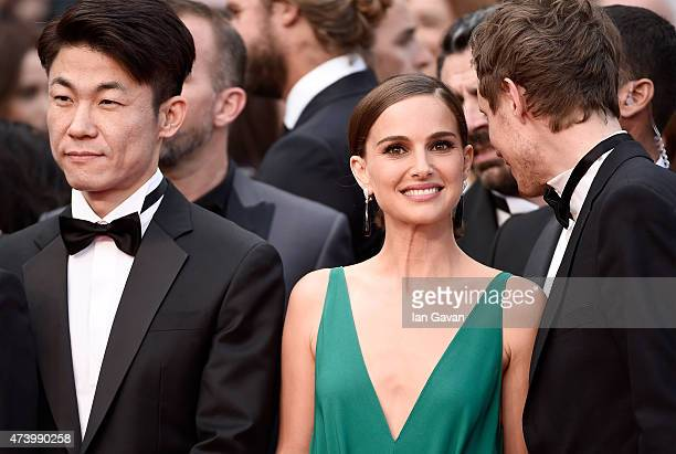 Directors Hong WonChan Natalie Portman and Laszlo Nemes attend the Sicario Premiere during the 68th annual Cannes Film Festival on May 19 2015 in...