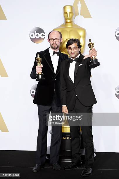 Directors James Gay-Rees and Asif Kapadia, winners of Best Documentary Feature, 'Amy', pose in the press room during the 88th Annual Academy Awards...
