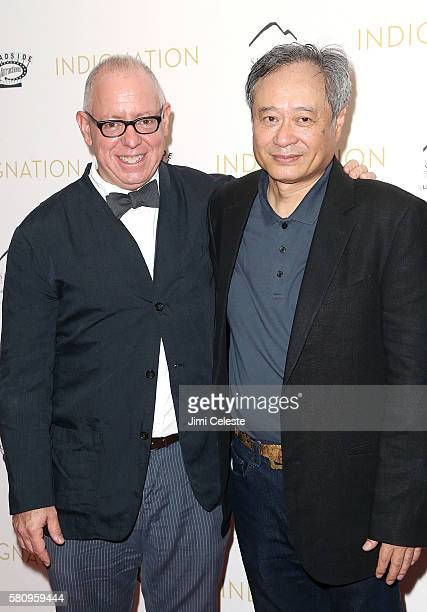 Directors James Schamus and Ang Lee attend Summit Entertainment and Roadside Attractions New York premiere of Indignation at MOMA on July 25 2016 in...