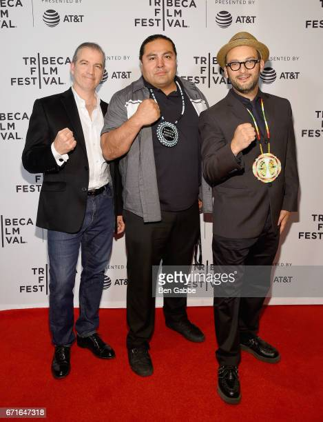 Directors James Spione Myron Dewey and Josh Fox attend the Awake A Dream from Standing Rock Premiere during 2017 Tribeca Film Festival at Cinepolis...