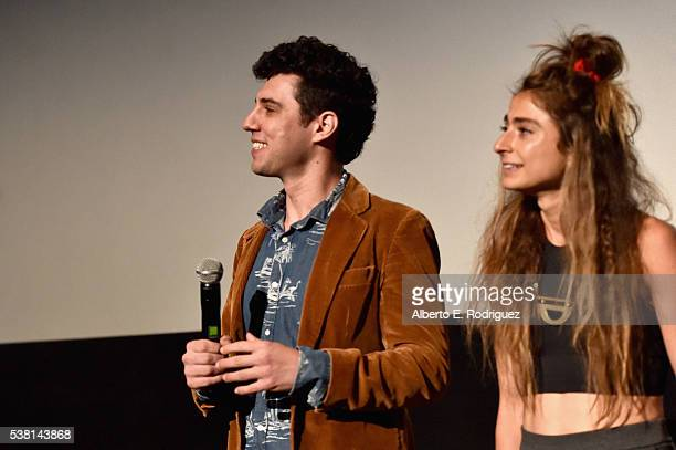 Directors Jeremy Teicher and Alexi Pappas speak onstage at the premiere of 'Tracktown' during the 2016 Los Angeles Film Festival at Arclight Cinemas...