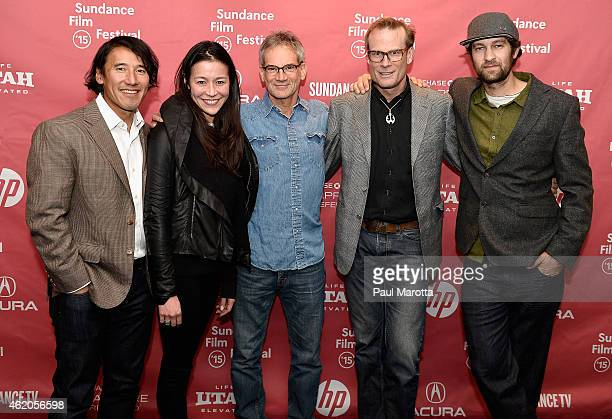 """Directors Jimmy Chin and E. Chai Vasarhelyi, author Jon Krakauer and climbers Conrad Anker and Renan Ozturk attend """"Meru"""" premiere during the 2015..."""