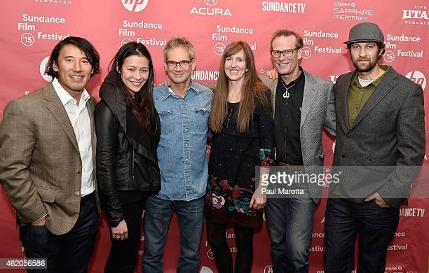 "Directors Jimmy Chin and E. Chai Vasarhelyi, author Jon Krakauer, Jennifer Lowe and climbers Conrad Anker and Renan Ozturk attend ""Meru"" premiere..."