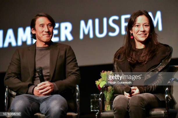 Directors Jimmy Chin and Elizabeth Chai Vasarhelyi speak onstage at the MoMA Contenders 2018 Screening and QA of Free Solo at Hammer Museum on...