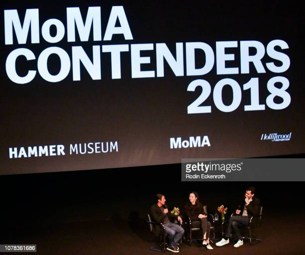 Directors Jimmy Chin and Elizabeth Chai Vasarhelyi speak onstage with The Celeste Bartos Chief Curator of Film for The Museum of Modern Art Rajendra...