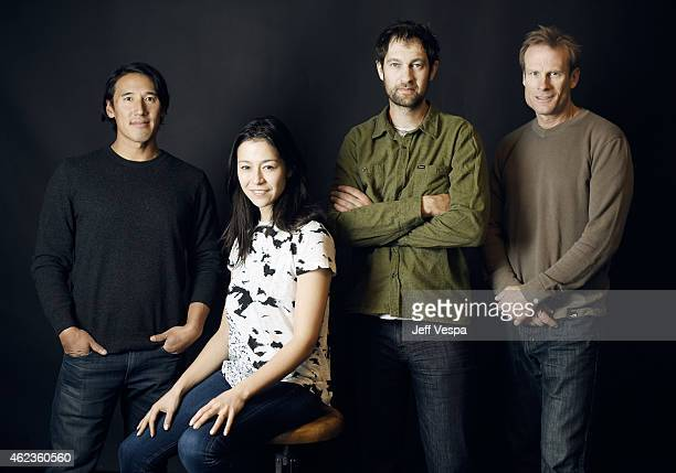 "Directors Jimmy Chin, Elizabeth Chai Vasarhelyi, climbers Renan Ozturk and Conrad Anker of ""Meru"" pose for a portrait at the Village at the Lift..."