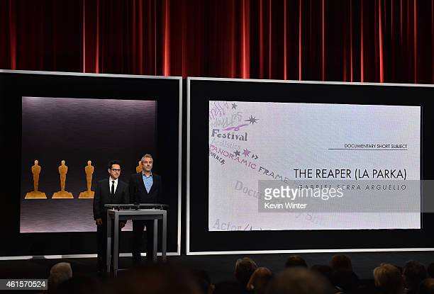 Directors JJ Abrams and Alfonso Cuaron announce the film 'The Reaper ' as a nominee for Best Documentary Short Subject during the 87th Academy Awards...