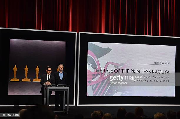Directors J.J. Abrams and Alfonso Cuaron announce the film 'The Tale of the Princess Kaguya' as a nominee for Best Animated Feature Film during the...