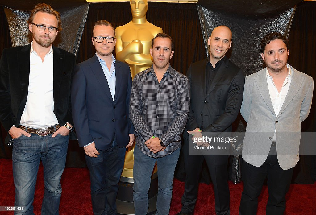 Directors Joachim Rønning, Espen Sandberg, Nikolaj Arcel, Kim Ngyuen and Pablo Larraín, nominees for the Foreign Language Film Award, pose for photographers at the Foreign Language Film Award Photo-Op for the 85th Annual Academy Awards at Hollywood & Highland Center on February 22, 2013 in Hollywood, California.