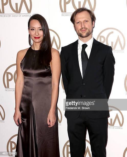 Directors Joanna Natasegara and Orlando von Einsiedel attend the 26th Annual Producers Guild Of America Awards at the Hyatt Regency Century Plaza on...