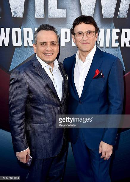 Directors Joe Russo and Anthony Russo attend the premiere of Marvel's 'Captain America Civil War' at Dolby Theatre on April 12 2016 in Los Angeles...