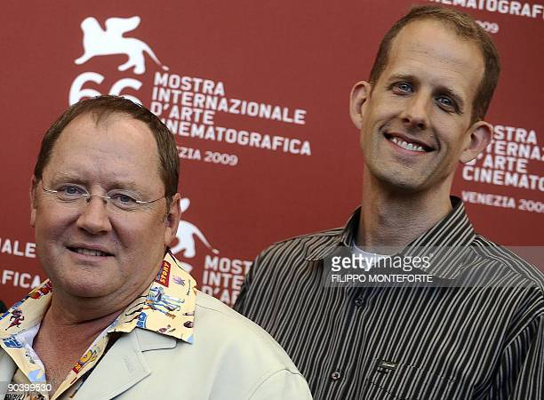 Directors John Lasseter and Pete Docter pose during the photocall for the Golden Lion for Lifetime Achievement at the Venice film festival on...