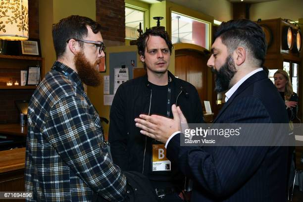 Directors Jordan Bond Mikal Hovland and Shady Srour attend Director's Brunch at 2017 Tribeca Film Festival at City Winery on April 22 2017 in New...